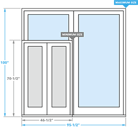 size chart for pella 350 series sliding patio doors